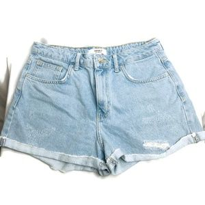 Forever 21 Distressed Light Wash Jean Shorts